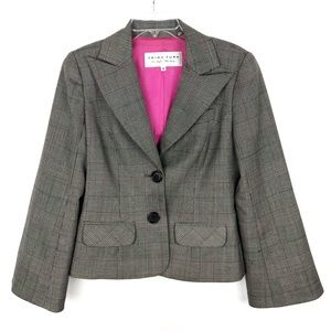 Trina Turk | Black & Pink Glen Plaid Blazer Size 8